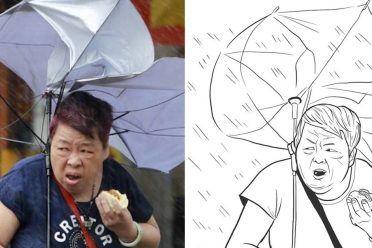 Esta mujer comiendo un bollo de cerdo en medio de un tifón es todos nosotros en la vida