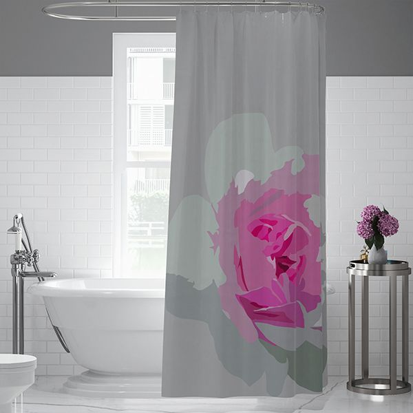 Abstract Rose Gray Pink Fabric Shower Curtain Fabric Shower