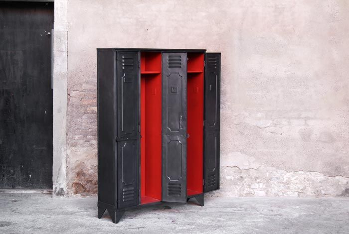 casier vestiaire m tal industriel 4 portes relook int rieur rouge. Black Bedroom Furniture Sets. Home Design Ideas