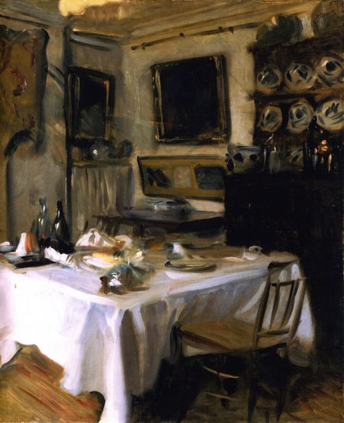 """""""My Dining Room [also known asThe Lunch Table]"""" (c.1883-96) John Singer Sargent. Smith College Museum of Art, Northampton, Massachusetts."""