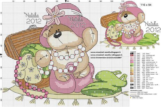 Bear playing dress you cross stitch:
