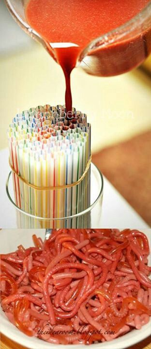 Jello worms. Canaan doesn't want cake and ice cream at his bday party, he wants jello. Maybe this would be fun.