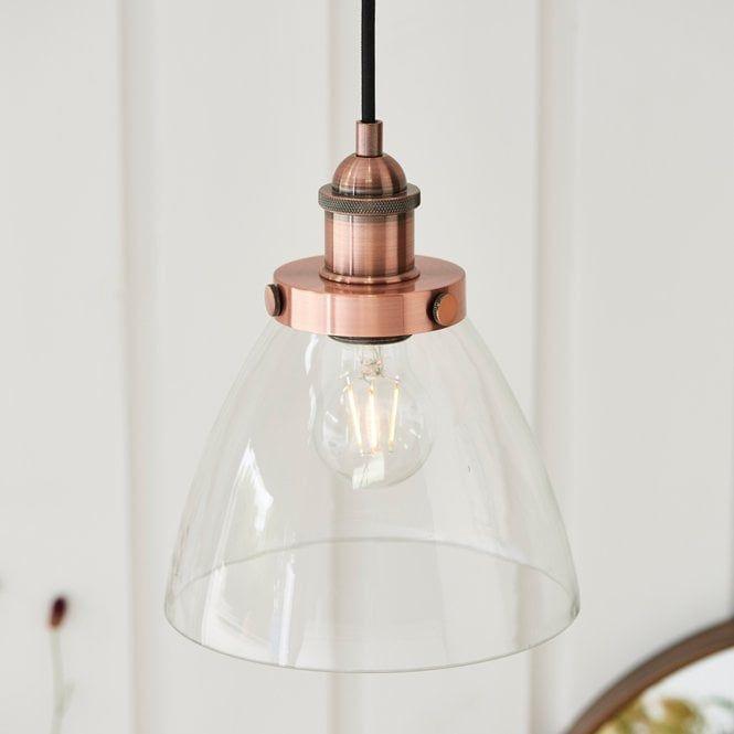 Endon Lighting Hansen Copper Pendant Light In 2020 Pendant Light Copper Pendant Lights Glass Diffuser
