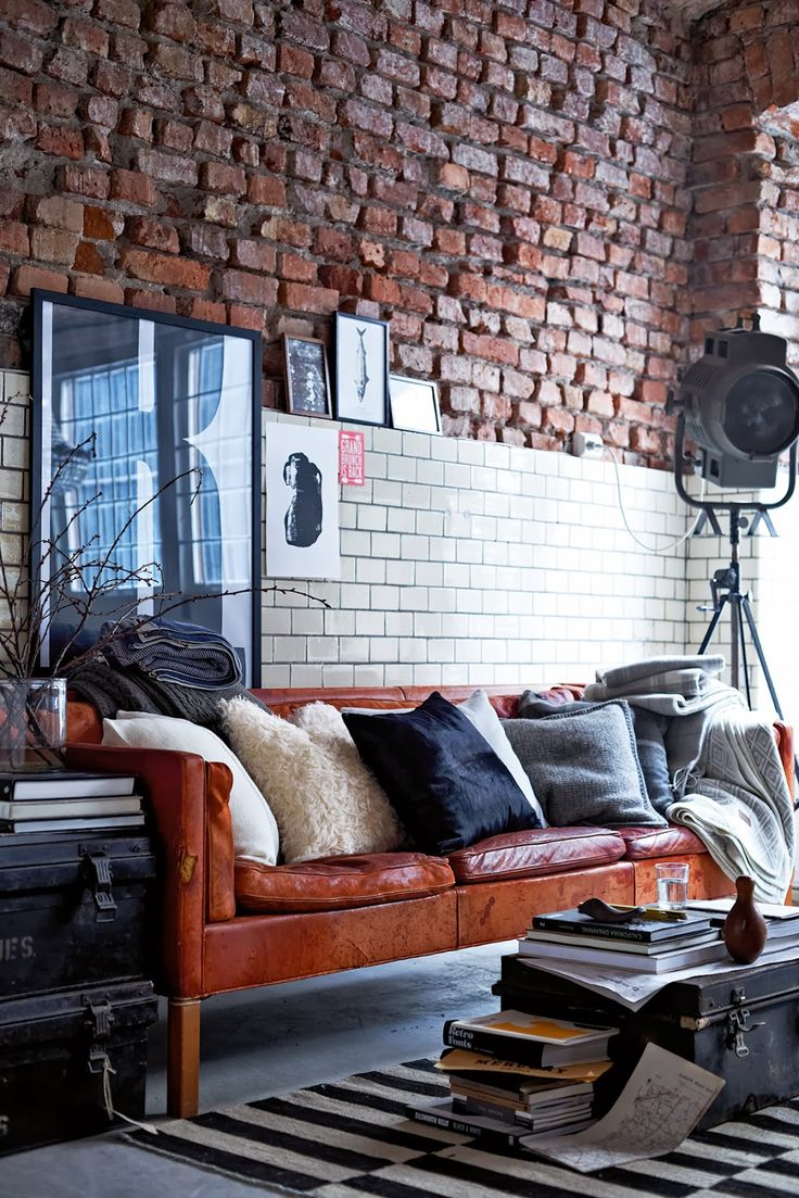 Leather & bricks  - Wall's - Interior - Interieur - Tegels