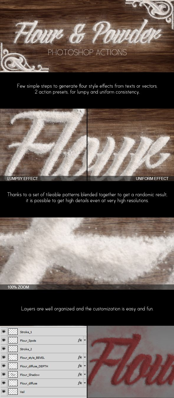 Flour & Powder - Photoshop Actions --- Each pack contains a set of 5 high resolution mockups to showcase your work, use it to show any image like presentations, website templates, designs, art work or wallpaper.