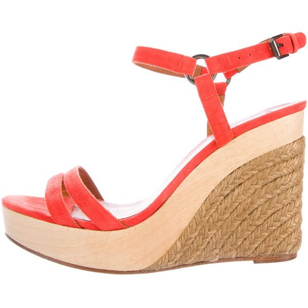 Pre-owned Lanvin Suede Espadrille Wedges ($150) ❤ liked on Polyvore featuring shoes, sandals, orange, orange wedge sandals, suede wedge shoes, suede sandals, wedge heel sandals and orange espadrilles