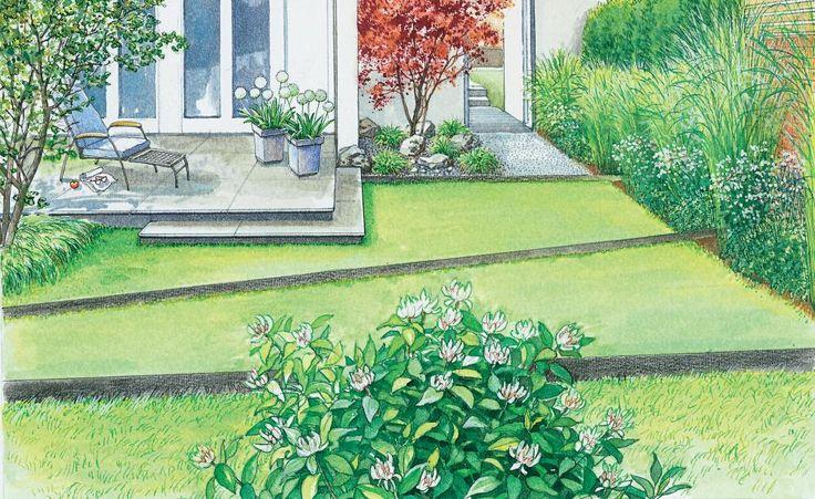 Ein Doppelhaus-Garten im neuen Gewand Doppelhaushälfte, Klare - reihenhausgarten vorher nachher