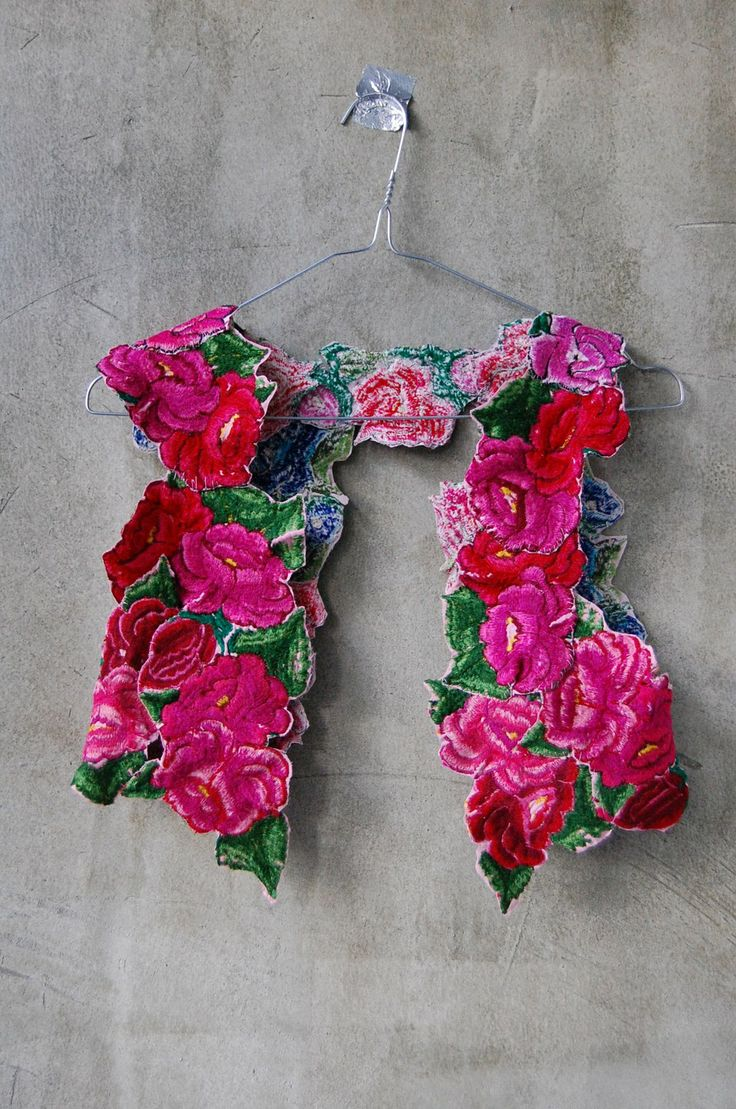 Mexican embroidered rose vest