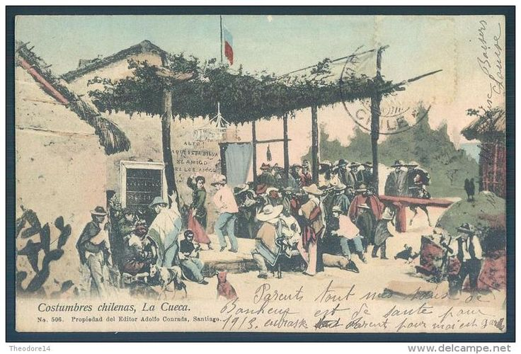 1913, postal Costumbres Chilenas