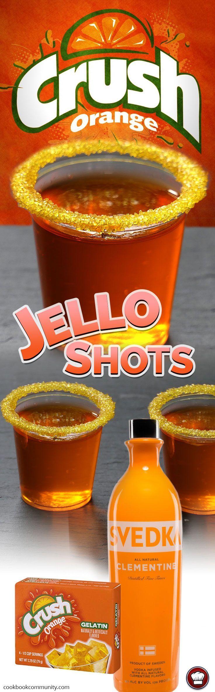 ORANGE CRUSH JELLO SHOTS - Orange Vodka, Orange Crush Jello #vodkadrinks