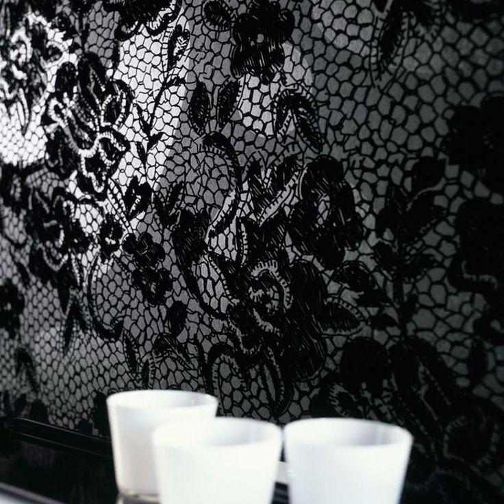 Elitis Tenue De Soirre Paso Doble.  Flocked lace wallpaper ideally suited for a glamorous space.