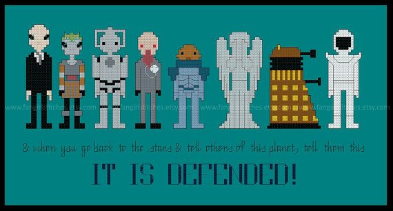Celebrate 50 years of Doctor Who with your very own Enemies of the Doctor wall hanging or party decorations.   Featured in this design are some of the Doctor's fiercest foe... #crossstitch #geek #silence #cyberman #dalek #sontaran #silurian #ood #halloween