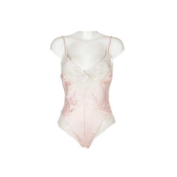 Lace Trim Pink Bodysuit Slip ❤ liked on Polyvore featuring intimates and  shapewear fcecadc77
