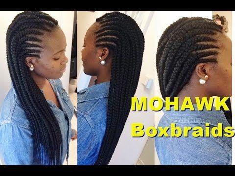 Tutorial: Simple MOHAWK Big Boxbraids | Big Cornrows - YouTube