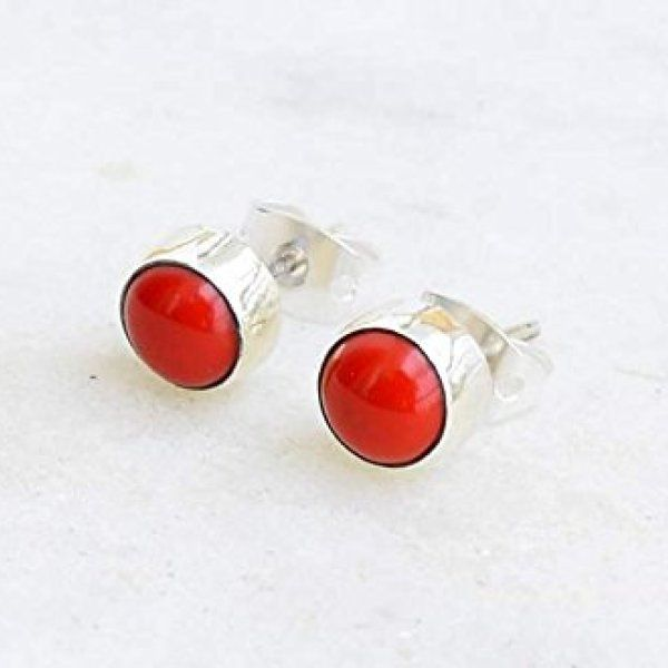 Sterling Silver Natural Round Red Coral 8mm Birthstone Handmade Stud Earrings
