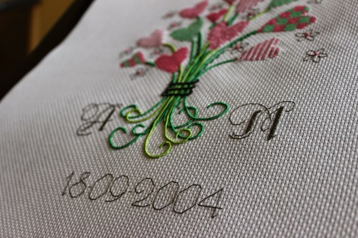 Gather hearts, Wedding Anniversary, cross stitch