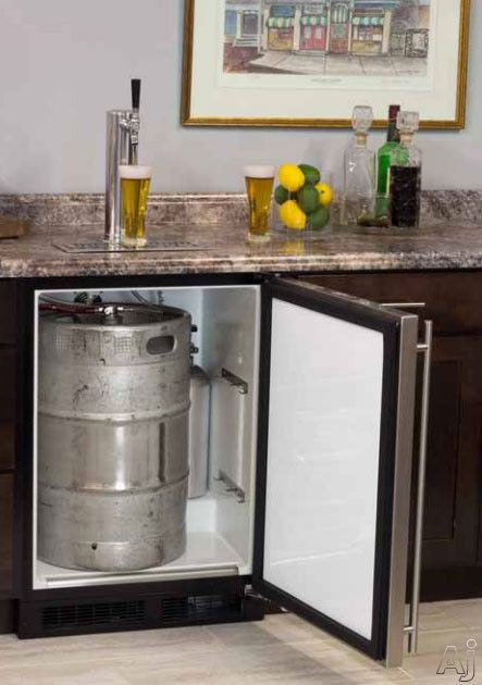 "Marvel ML24BS 24"" Built-in Beer Dispenser with Single Tap, Half Barrel Keg Storage, 2 Metal Shelves for Refrigerator Conversion, CO2 Tank and Other Accessories Included"
