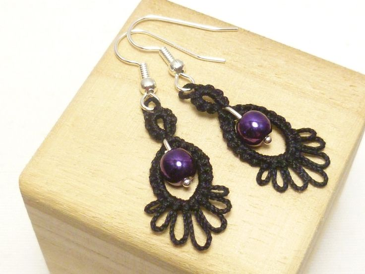 Tatting earrings handmade with beads -Frilly Drips MTO your color choice by SnappyTatter on Etsy