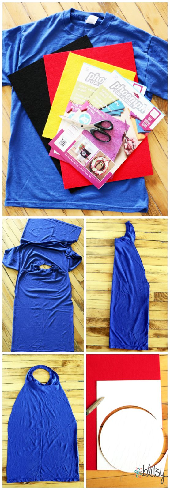 DIY no-sew Super Hero Cape made out of an old t-shirt! Phoomph is the magical supply used in this no-sew project. Your pint-sized hero can wear this all year long! #halloween #blitsy #blitsyblog