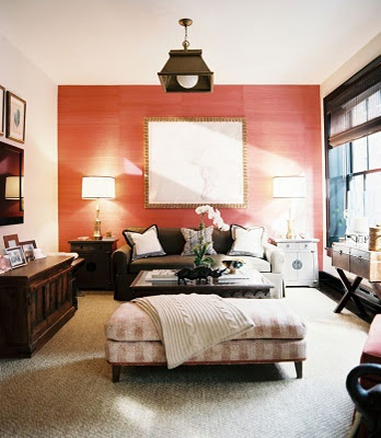 Sitting Room | Coral Accent Wall | Creme & Light Coral Striped Long Ottoman