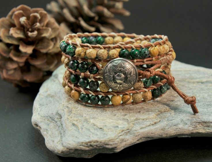 Breathless * Brown Multi Mix Strand Bracelet with Rubyzoisite Agate & Jasper Semiprecious Stones