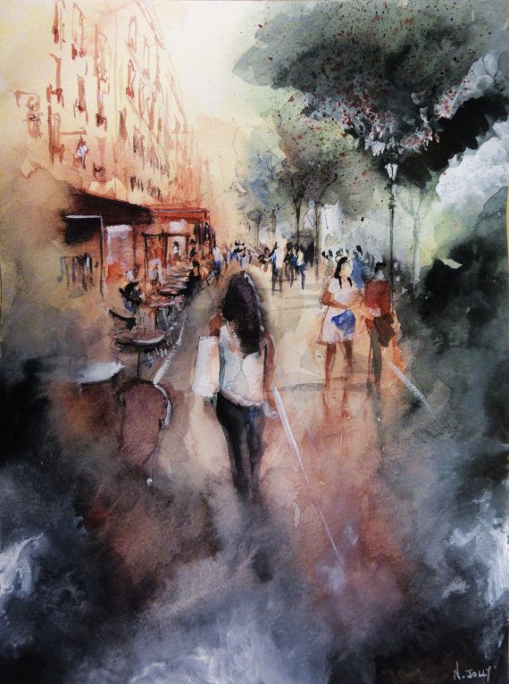 "Etsy.  Original painting ""Promenade rue Saint-Martin"" - Paris. Watercolor on paper. By Nicolas Jolly. #art #painting #watercolor #paris #parisart"
