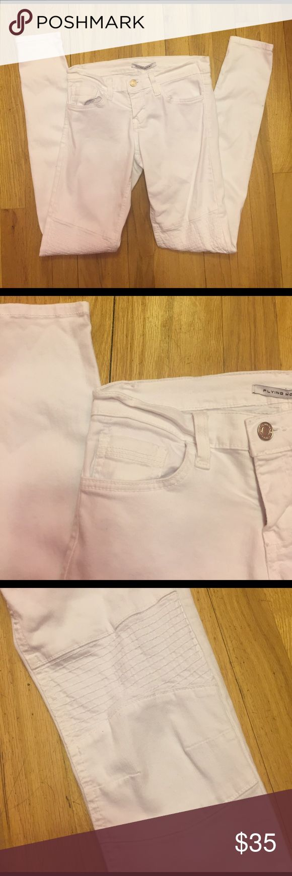 Flying monkey white skinny jeans Gently worn flying monkey skinny jeans, white. Stretchy and comfortable. Size 25. Small spots on bottom of left side of leg. Pictured in last picture. Consigned to my boutique, no trades.                  Waist laying flat: 13 inches                                      Inseam: 30.5 inches Flying Monkey Jeans Skinny