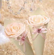 100 x coni holder bowknot del fiore della rosa gelato di nozze fai da te  Caramella di favore contenitori di regalo di nozze decorazione della tavola, 5 colori(China (Mainland))