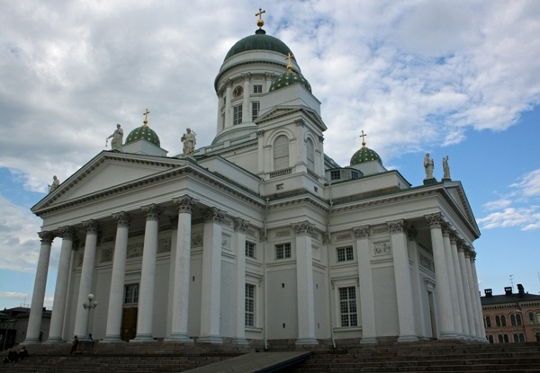 Helsinki's (FIN) Lutheran Cathedral: The Evangelical Lutheran Cathedral of Helsinki (tuomiokirkko in Finnish) was built between 1830 and 1852 in neoclassical style. It was originally dedicated to Nicholas I of Russia and was called St. Nicholas' church until Finland's independence in 1917.