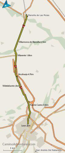 Mansilla de Las Mulas to Leon Map