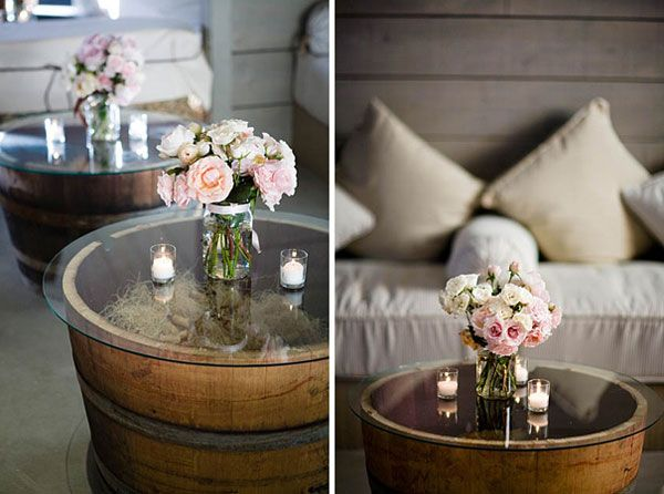 Repurpose Wine Barrels to Coffee Table.  web clippings by CHALARIS xylodesign. www.xylodesign.gr