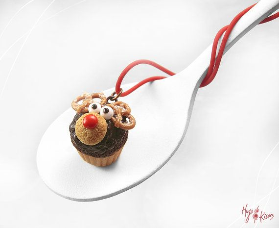 Christmas Reindeer Necklace, Rudolf Cupcake Necklace, Miniature Food