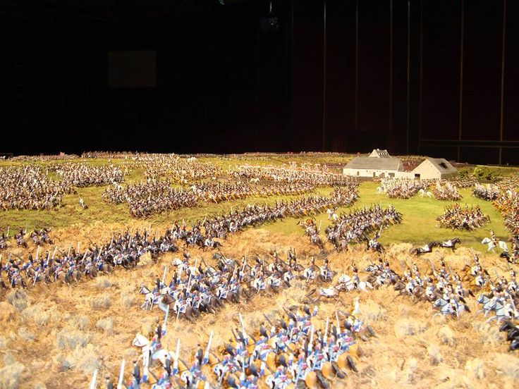 A beautiful diorama depicting the famous French cavalry charge at Waterloo. Marshal Ney, dubbed 'Bravest of the Brave' by the emperor himself, leads a massive 5,000 strong cavalry charge across the field at Waterloo. Ney' was repulsed many times but eventually made headway in the allied center, but could not capitalize on his success as Napoleon denied his request for more men to exploit the breech.