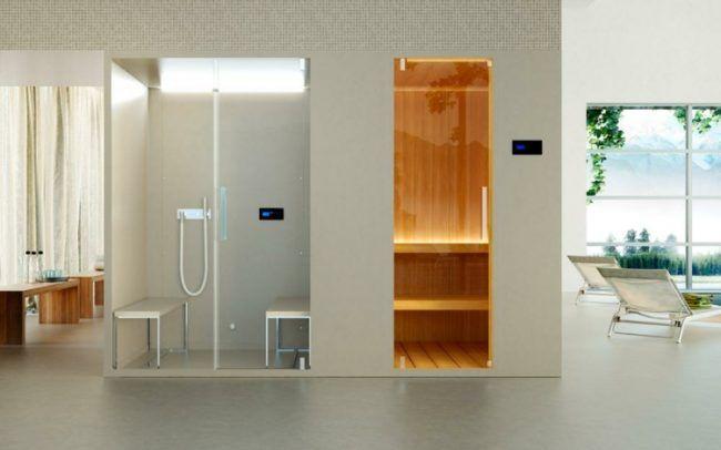 Dampfdusche oder Sauna kombination-saunakabine-beige-sitzbank-waende-holz-wandverkleidung-Pasodoble