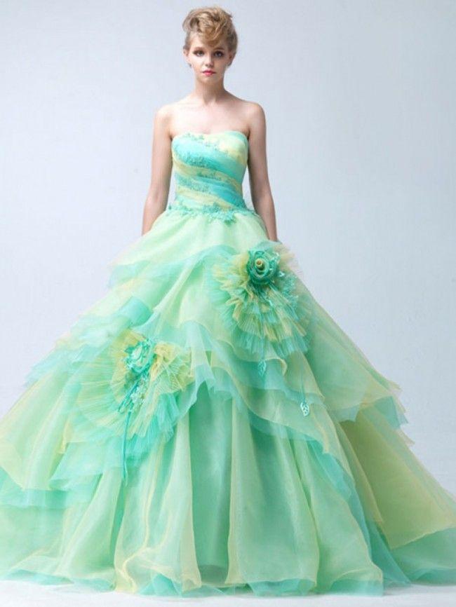 ウェディングドレス ボールガウン ベアトップ オーガンジー ファスナー フリル フラワー ノースリーブ グリーン スウィープ 結婚式 二次会ドレス 花嫁  Hlb0075