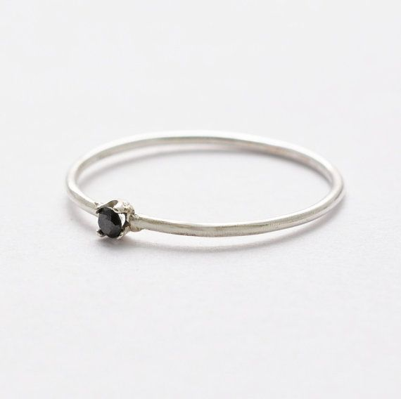 Black Diamond Stack Ring Silver Diamond Promise Ring Black Gemstone Simple Ri