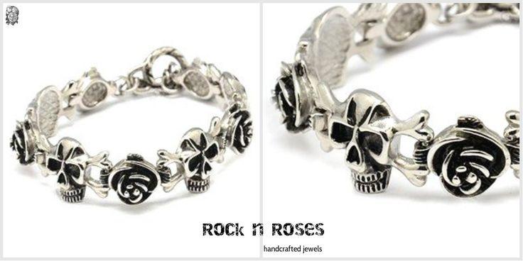 ▼GIRLS....THE ROCK N ROSES BRACELET▼ ☆ Νεκροκεφαλές και τριαντάφυλλα ☆