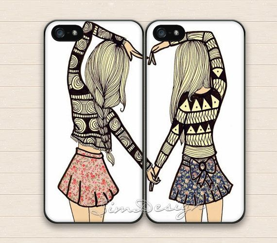 Best Friends iPhone 5 5s Case,iPhone 4 4s Case,iPhone 5C Case,Samsung Galaxy S3 S4 S5 Case,BFF friend heart love Hard Rubber Double Cases