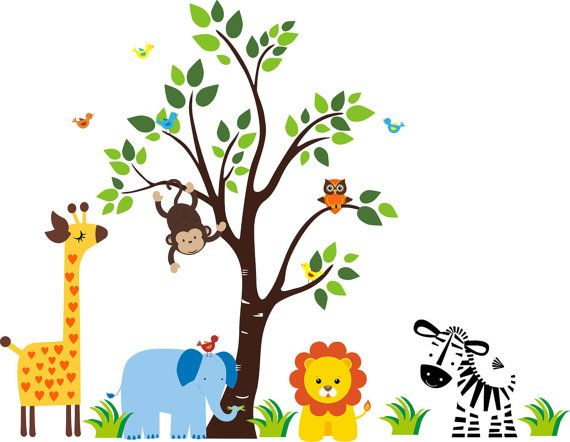 Kids Room Wall Decals Jungle Safari Animals By Nurserydecals4you Https Www