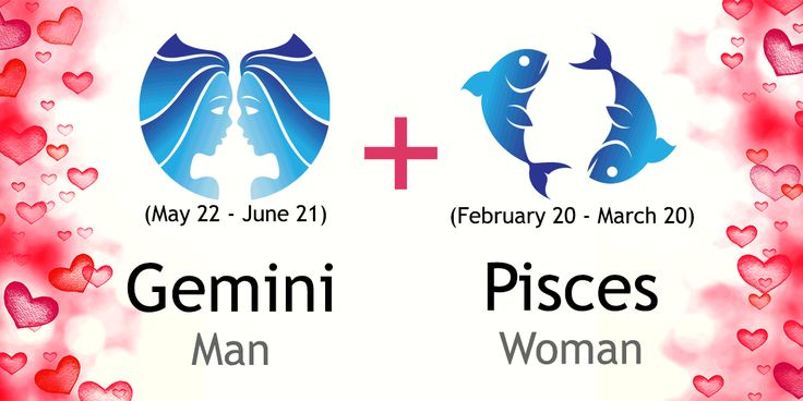 Love match compatibility between Gemini man and Pisces woman. Read about the Gemini male love relationship with Pisces female.