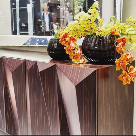QUARTZ BUFFET! We are in love with ebony Makassar timber and those architectural forms! #madeinitaly choose from a range of sizes & finishes to create your very own! www.sovereigninteriors.com.au