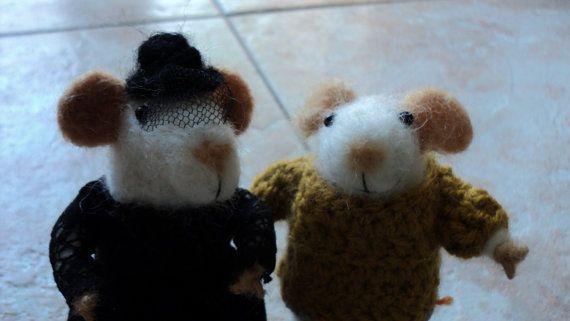 needle felted miniature mice set by Kunuli on Etsy