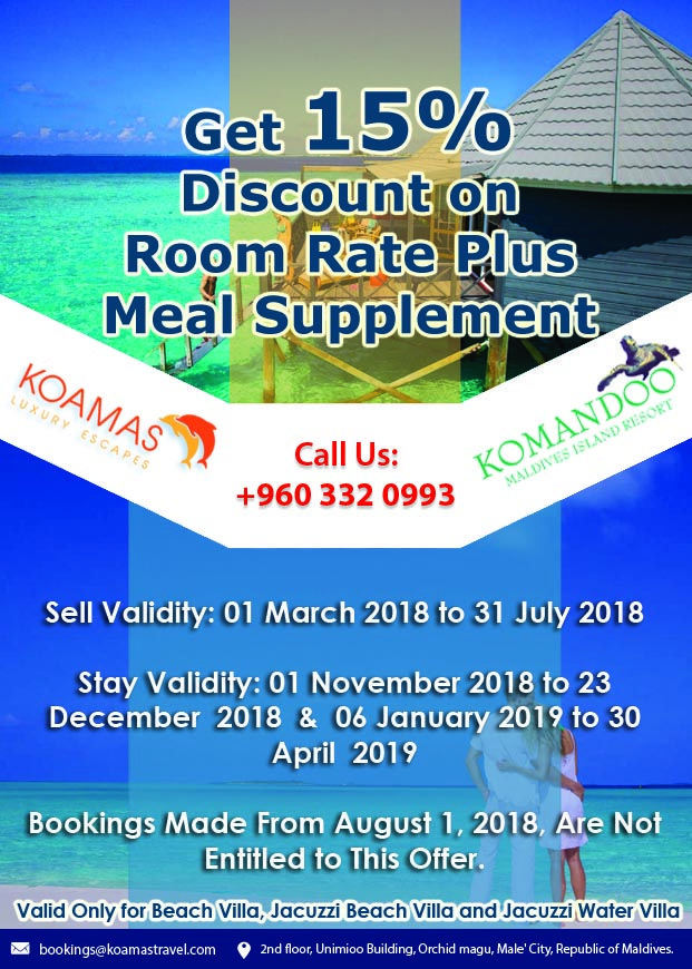 15 Discount On Room Rate Plus Meal Supplement At Komandoo