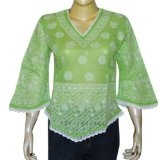 Gifts for Mothers Day Cotton Green Top Chikan Embroidered Size M (Apparel)By ShalinIndia