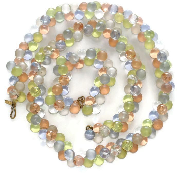 #2929 Monet Wisteria Pastel Lucite Bubbles Necklace Bracelet Set Exclusively at Lee Caplan Vintage Collection on RubyLane