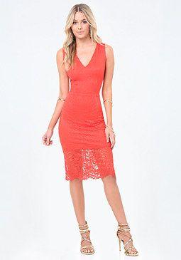 bebe Daniela Lace Midi Dress