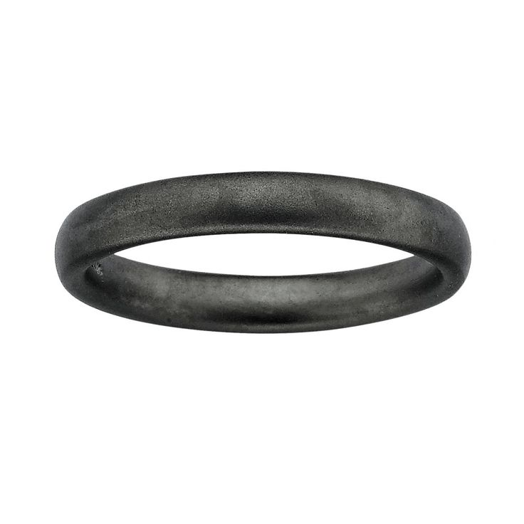 Stacks and Stones Ruthenium-Plated Sterling Silver Satin Finish Stack Ring, Women's, Size: 5, Black