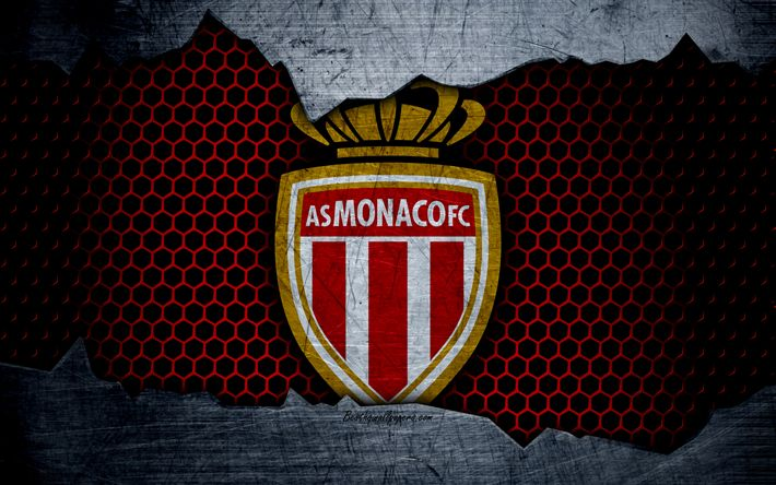 Download wallpapers AS Monaco, 4k, Liga 1, logo, grunge, soccer, Monaco, football club, metal texture, Ligue 1, art, Monaco FC