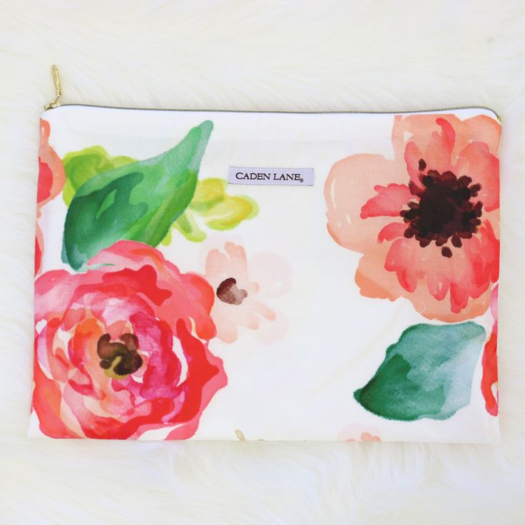 Large Watercolor Floral Zippered Wet Bag