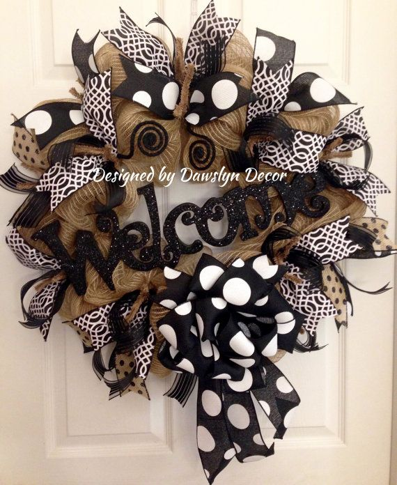 Black & White Polkadot Deco Mesh Welcome Wreath by Dawslyn Decor on Etsy & Facebook